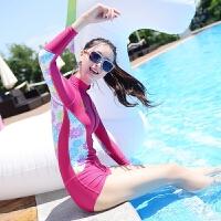 防晒冲浪保守泳衣女长袖防晒潜水母衣连体拉链平角游泳衣 玫红色 花