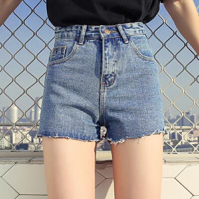 RANJU 然聚2018女装夏季新品新款原宿风高腰百搭牛仔短裤新款阔腿裤女显瘦毛边热裤子