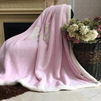 伊丝洁家纺2017秋冬款棉被子双层加厚保暖羊羔绒盖毯双面纯色单人双人公室午睡毛毯 200*230 cm 约2.3kg