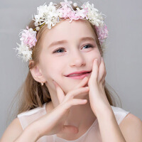 韩国公主礼服配饰演出 儿童花环头花儿童头饰花童花冠女童发带
