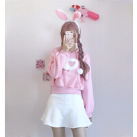 春季新款韩版ulzzang可爱长袖加绒卫衣+A字加厚短裤裙套装女