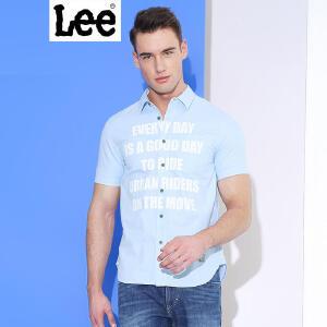 LEE男装 2018春夏新品男士标语印花短袖衬衫2色可选