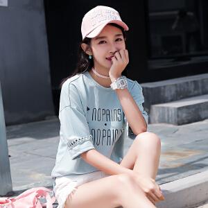 【每满100减50元】纯棉T恤上衣女2018韩版新款短袖体恤衫上衣女装学生衣服时尚半袖女潮