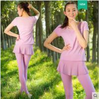 清新简约显瘦健身房运动短袖长裤裙两件套吸汗瑜伽服两件套