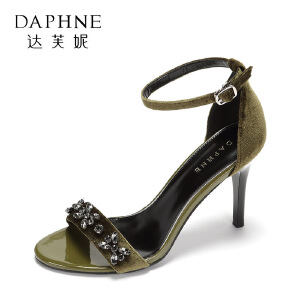 Daphne/达芙妮时尚绒面水钻露趾凉鞋 百搭一字扣通勤细跟高跟鞋