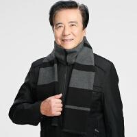 冬季中老年男士围巾中年围脖冬天加厚保暖老年人爸爸爷爷老人围巾