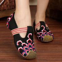 老北京布鞋女 坡跟 绣花鞋民族风 圆头妈妈布鞋