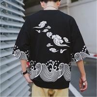 夏季中国风复古五分袖t恤男装加肥加大码潮流个性 胖子短袖打底衫【潮流】【超火】