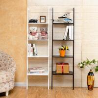 书架 简约靠墙四层架简易家用卧室书房落地木制隔板置物架收纳架子家具用品