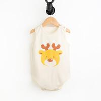 彩棉城堡 彩棉宝宝包臀包屁衣哈衣无袖连体衣婴儿背心三角爬服纯棉
