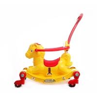 两用玩具 摇摇马儿童手推车多功能加厚塑料木马宝宝带推把带音乐 黄色 +礼包+把套