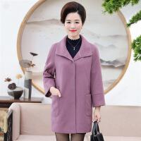 时尚外套中老年女装2018年春季开衫街头潮流百搭长袖中长款口袋