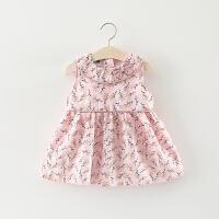 女童洋气裙子夏天儿童小女孩碎花无袖连衣裙婴儿女宝宝夏装公主裙