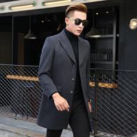 新款毛呢大衣男中长款韩版长款过膝呢子风衣商务加厚外套冬季 深灰色 M