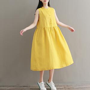 RANJU然聚 2018夏季女装新品新款宽松大码显瘦麻料立领无袖背心中长裙连衣裙女夏