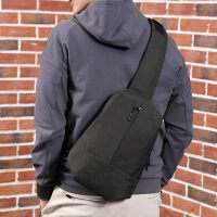男士胸包帆布单肩包斜挎包斜跨包2018新款潮运动休闲小背包包