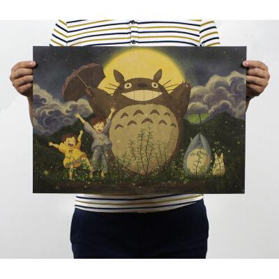 日本宫崎骏动漫海报千与千寻龙猫魔女宅急便哈尔的移动城堡学生宿舍床头墙壁贴纸装饰挂画  51*35.5厘米