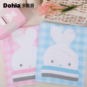 多喜爱啵兔系列纯棉毛巾可爱卡通方巾梦想家两条装