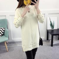 2017新款韩版加厚高领纯色钉珠毛衣中长款打底针织衫女 均码