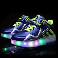 双轮暴走鞋男女童带灯带开关爆走鞋滑轮鞋有轮子的运动儿童鞋