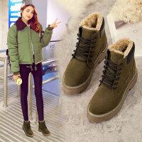 马丁靴女短靴英伦风冬季超保暖加绒防滑雪地靴学生女棉鞋