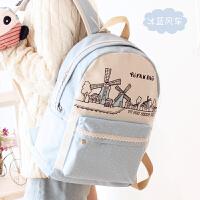 帆布双肩包女包日韩版潮高中学生书包旅行电脑背包学院风休闲gf 冰蓝风车