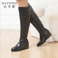 达芙妮冬季新款女靴时尚亮面侧拉链坡跟内增高过膝女高筒靴长筒靴