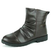 高帮鞋短靴黑色休闲鞋户外靴冬季套筒圆头平跟韩版沙漠靴男马丁靴保暖加绒男靴机车靴潮男英伦