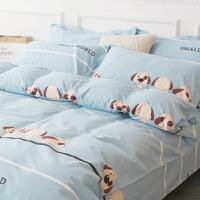 被套单件卡通可爱蓝色小狗被罩床单枕套单件儿童床上用品 调皮小狗--蓝色