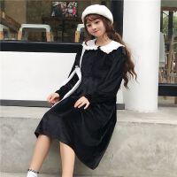 春春女装黑色娃娃领蝴蝶结连衣裙女18新款夏季宽松女装