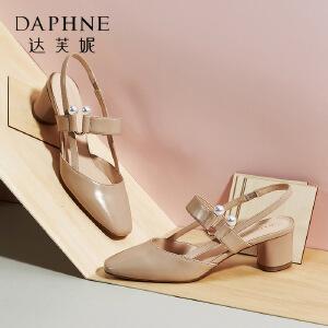 Daphne/达芙妮2018春季新款复古皮带扣低帮鞋浅口粗跟方头单鞋