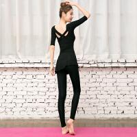 瑜伽服女莫代尔 舞蹈服裙裤秋冬健身房运动套装黑色中袖练功形体服