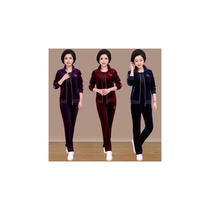 金丝绒女士运动套装韩版中老年妈妈装加大码宽松运动服三件套 品质保证 售后无忧 支持货到付款
