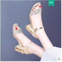 古奇天伦夏季新款韩版百搭女士中跟罗马鞋一字扣带凉鞋女鞋粗跟高跟鞋GT03380