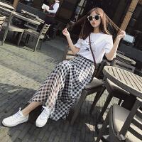 2018春夏季新款韩版长裙chic格子雪纺半身裙女中长款高腰a字裙子 黑白格