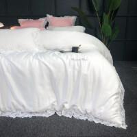 家纺双面天丝四件套欧式床上用品 蕾丝公主床单被套纯色清新绿色套件