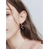 闪电流苏草莓粉红色水晶S925银耳钉创意耳环日韩耳坠女款 一对