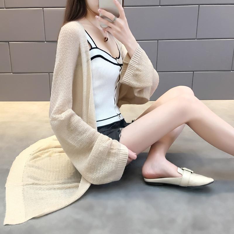轻薄款空调开衫2018新款宽松慵懒风中长款针织衫外套女防晒衣春夏