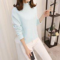 宽松毛衣女秋冬韩版新款纯色长袖加厚打底衫卷边半高领套头针织衫