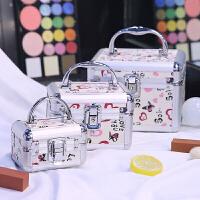 铝合金手提化妆箱化妆品收纳盒创意大号美甲纹绣带锁工具箱化妆包