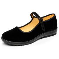 老北京布鞋女鞋酒店鞋工作鞋中老年妈妈鞋秋季平底单鞋软底舞蹈鞋 酒店鞋黑色