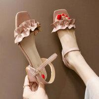 户外凉鞋女韩版ins潮仙女户外时尚木耳边中粗跟高跟鞋