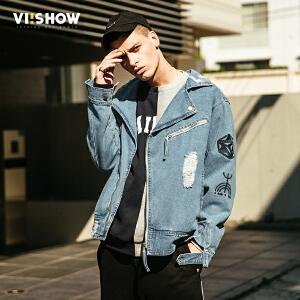 VIISHOW2017秋装新品牛仔夹克衫男纯棉图腾符号装饰磨破男士外套