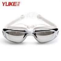 泳镜 高清防雾近视大框游泳眼镜 度数男女防水游泳装备 电镀连体耳塞银色