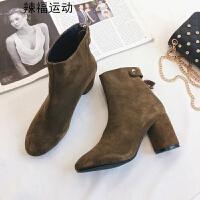 短靴女秋季新款高跟鞋马丁靴粗跟裸靴切尔西靴磨砂英伦单靴子 棕色 内加绒