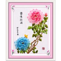 家居手工丝带绣挂画 客厅牡丹福3D印花十字绣新手DIY时尚中式绣花