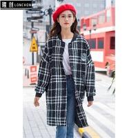 呢子大衣女秋冬新款外套棒球服女学生中长款校园风格韩版 均码