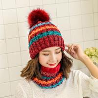 毛线帽子围巾一体女韩版冬天保暖甜美可爱时尚潮新款冬季围脖套装