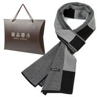 围巾男羊绒围巾格子冬季年轻人韩版商务中老年礼盒装学生加厚长款
