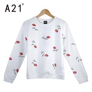 以纯A21春季新款宽松T恤女白色印花长袖体恤学生少女百搭图案圆领上衣